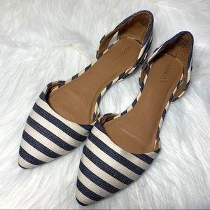 Merona Navy Blue & White Striped Flats Shoes